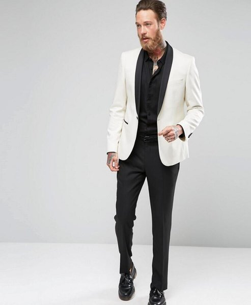 Customized new white men's suit wedding groom groomsmen dress men's business formal suit two-piece suit (coat + pants)