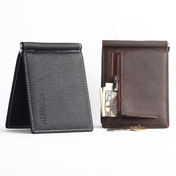 Wallet men soft leather money clip with zipper coin pocket slim men purse money holder cheap free shipping genuine leather