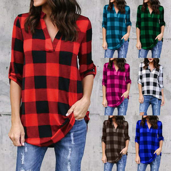 best selling S-5XL Women Plaid Shirts Plus Size V Neck Long Sleeves lattice T shirts Oversize Loose Blouse Tops Ladies Maternity Clothes Tees AAA1037