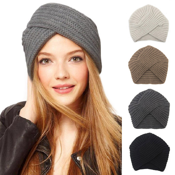 Knitted winter hat women felt hat ladies turban head wrap caps for women twist headwrap Hat girls croceht beanies JLE167