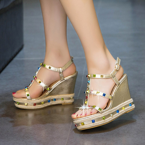 women wedge platform sandal top quality 2018 summer gladiator rhinestone studded T-strap high heel party fashion shoes