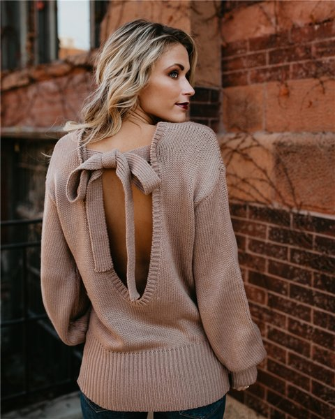 Designer Sweater For Women Backless Knitted Long Sleeve Bow Tie Pullover Sweaters In Winter Fall S-XL