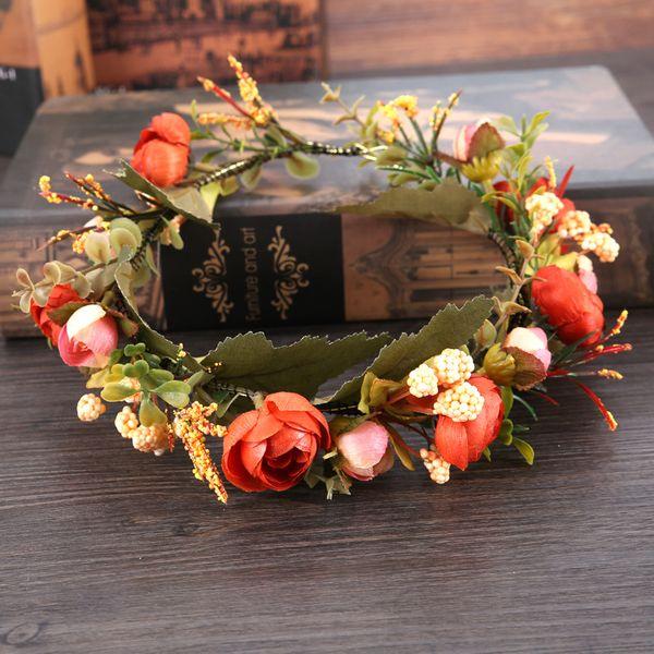 2019 Fashion Hot Sale Flower Wreath Crown Handmade Bohemia For Wedding Party Bridal Headdress Hairband Accessories Kids Girl Anadem