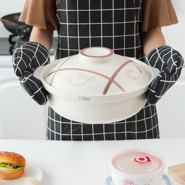 cocina utensilios para hornear guantes accesorios de cocina espesar antideslizante a prueba de calor guantes de horno de microondas guantes para cocinar para hornear