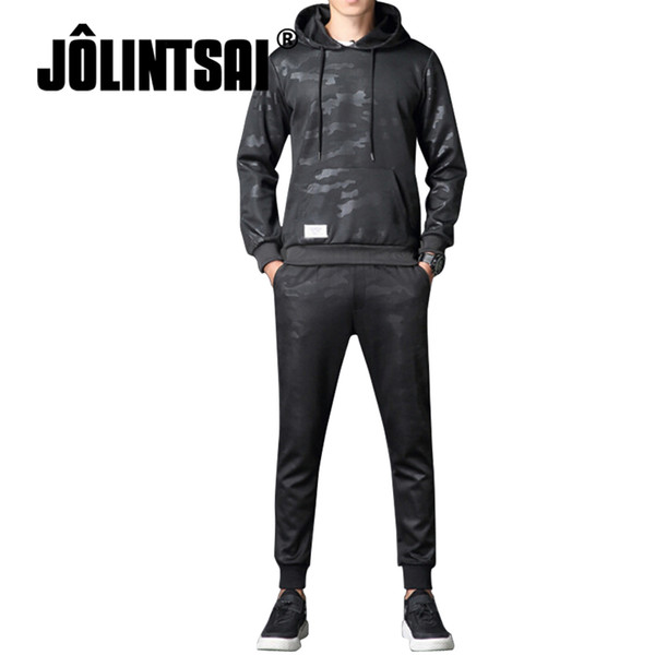 Hot Sales 2 Piece Set Men Sporting Suit 2018 Spring Casual Hooded Hoodies +Pants Sets Black Camouflage Tracksuits Plus Size 4XL