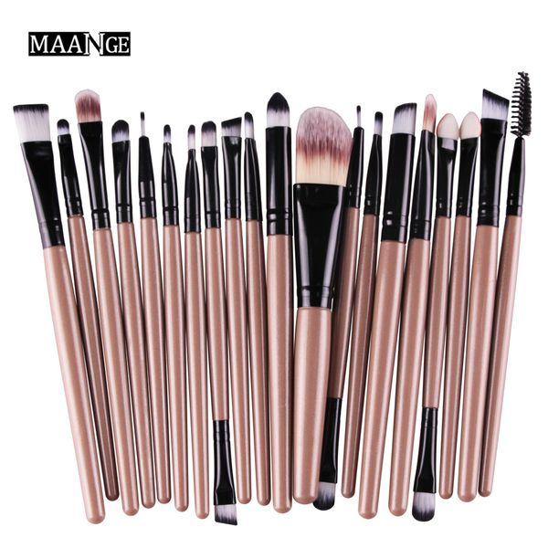 20Pcs Makeup Brushes Set Pro Powder Blush Foundation Lip Eyebrow Eyeshadow Eyeliner contour Concealer Gold Brush tools kit