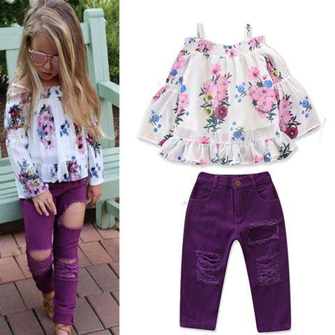 2018 automne filles boutique tenues mode enfants vêtements enfants hors de l'épaule t chemises tops floraux déchiré jeans violet bébé vêtements ensembles