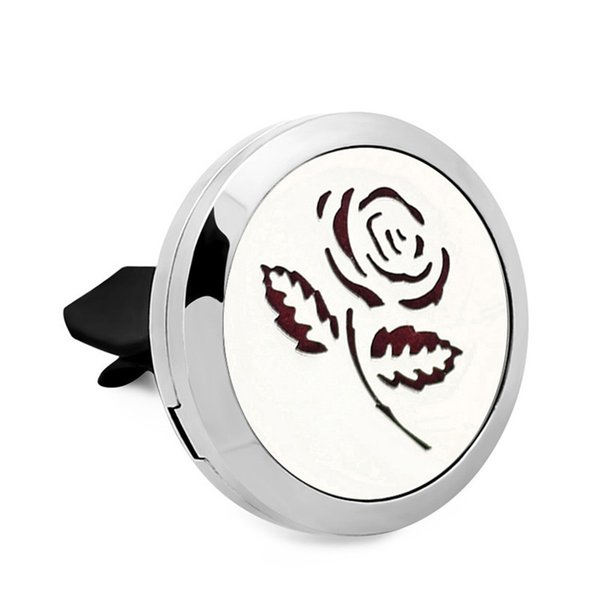 Rose Tree Essential Oil Car Diffuser Locket Vent Clip 316 L Stainless Steel Perfume locket Magnetic Randomly 10pc Oil Pads as mother Gift