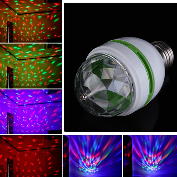 Hot selling E27 3W RGB LED Laser Stage Light Crystal Magic Ball Effect Colorful Bulb Roating Lamp for KTV Party DJ Disco House Club