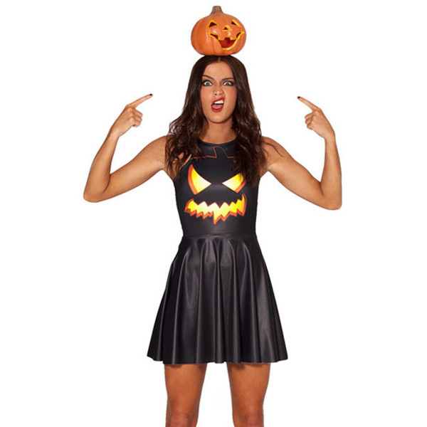 EUUS Halloween 3D abóbora lanterna lâmpada impressão show party abastecimento traje Cosplay sem mangas colete vestido plissado tanque vestidos Sexy