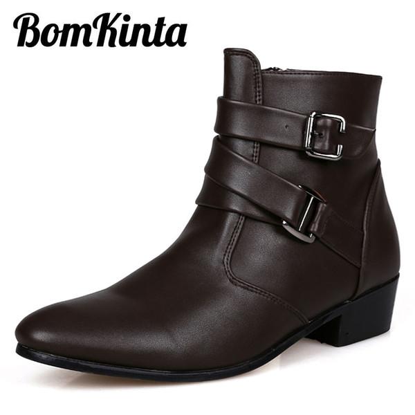 Bomkinta PU Deri Ayak Bileği Çizmeler Erkekler İngiliz Tarzı Kayış Erkekler Çizmeler Fermuar Erkek Martin Çizmeler Yüksek Kesim Toka Erkekler rahat Ayakkabılar