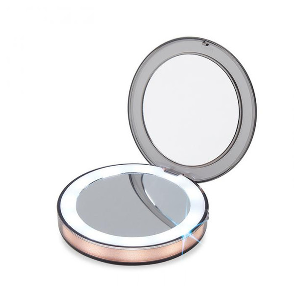 Portable Double Sides Pocket Make Up Mirror LED Lighted Mini Makeup Mirror 3X Magnifying Compact Travel Portable Sensing Lighting Makeup