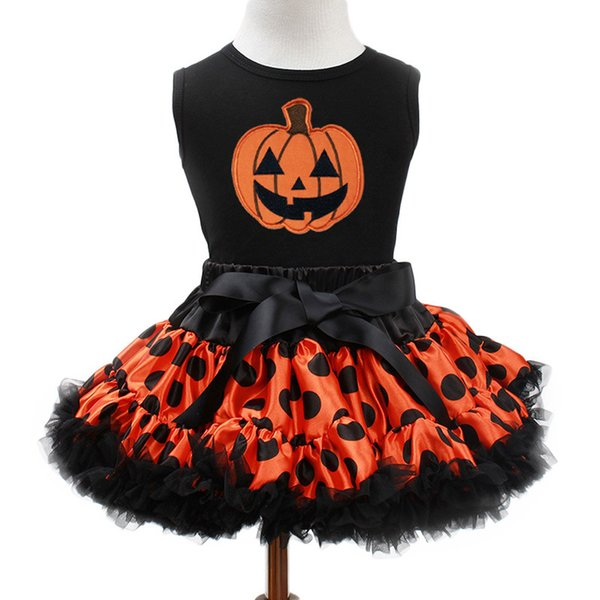 Girls Clothes Pumpkin Pattern Vest Tutu Dot Fluffy Skirts Kids Christmas Outfit Halloween Children's Dress For Girl Clothing Set