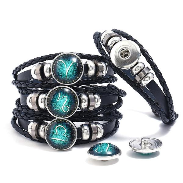 Wholesale Snap Button Friendship Bracelet DIY Multilayer Leather Noosa Chunk Mens Bracelets 12 Constellation Button Jewelry