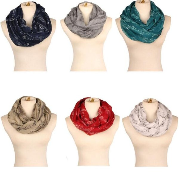 8 Colors 180*90cm Lady Musical Note Neck Soft Scarf Shawl Muffler Sunscreen Musical Note Printed Ring Fashion Accessories CCA10208 60pcs