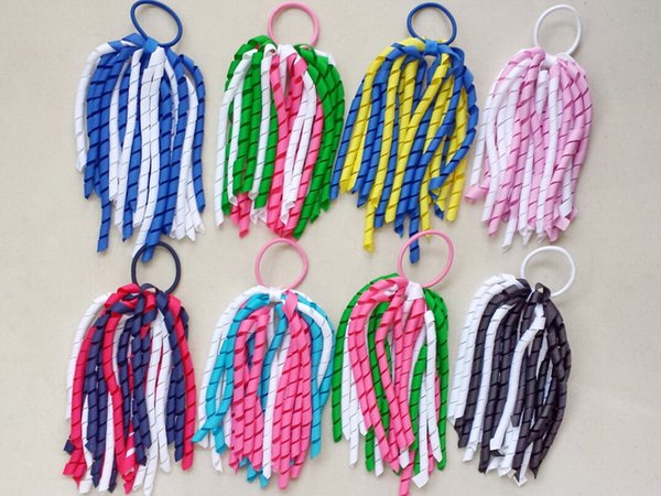 """100pcs 7"""" girl curly ribbon korker ponytail holders streamer pony corker hair bows with elastic hair bobbles Xmas hair accessories PD002"""