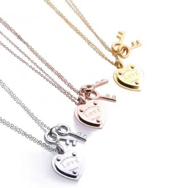 316L titanium steel love heart double-layer necklace heart-shaped hanging key pendant necklace 18K rose gold female jewelry necklace