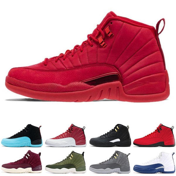 mens 12 12s Basketball shoes Gym red Bulls Flu game University blue College navy the master Dark Grey men Sports Sneakers size 8-13