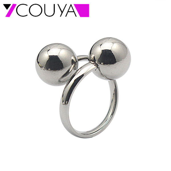 rings 2016 New 316L stainless steel beads rings for women jewelry Wholesale metal silver fashion jewelry Ring