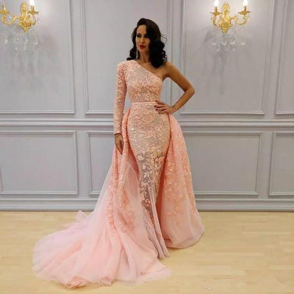 2018 Overskirt Mermaid Formal Dresses Evening Wear One Shoulder Long Sleeve Blush Peach Sweep Train Yousef Aljasmi Lace Floral Prom Dress