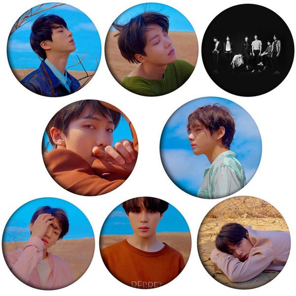 KPOP BTS Bangtan Boys 2018 Nuevo álbum Concepto de rasgón Versión fotográfica Broches Insignia de moda Accesorios