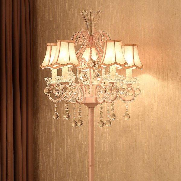 Modern Kumaş Kristal Prenses Yatak Odası Zemin Lambaları Moda Romantik Oturma Odası Zemin Işık Çalışma Odası Zemin Aydınlatma Armatürü