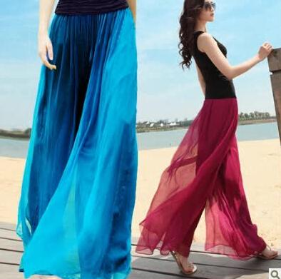 Spring and summer womens beach pants loose plus size high waist culottes gold chiffon skorts wide leg pants trousers