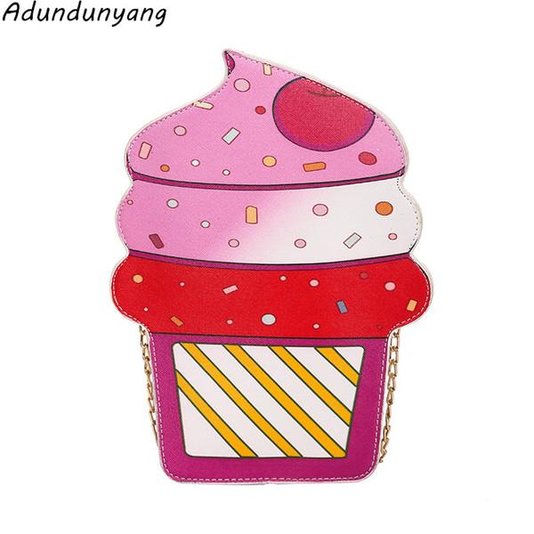 Bags for Women 2018 Kawaii Bag ice cream Handbags Chain Flower Bag Phone Wallet Crossbody Messenger pink Purse