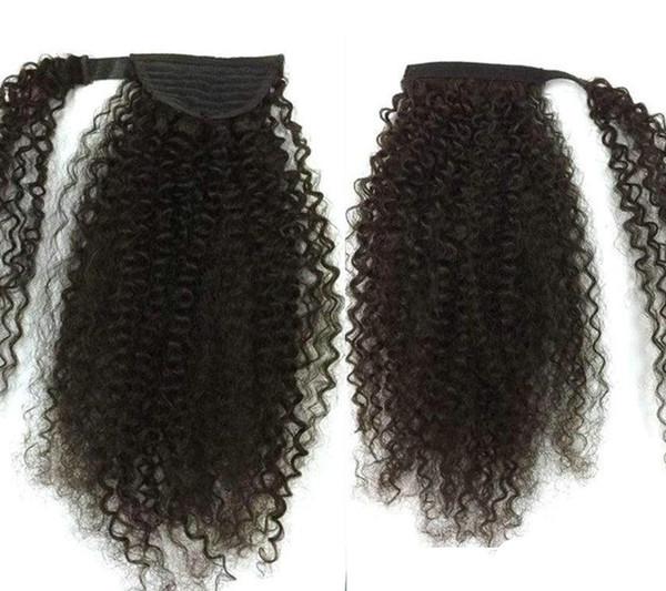 120g Afroamericano de negro Afro Puff Kinky Curly con cordón ponytails pelo humano extensión pony tail hair piece