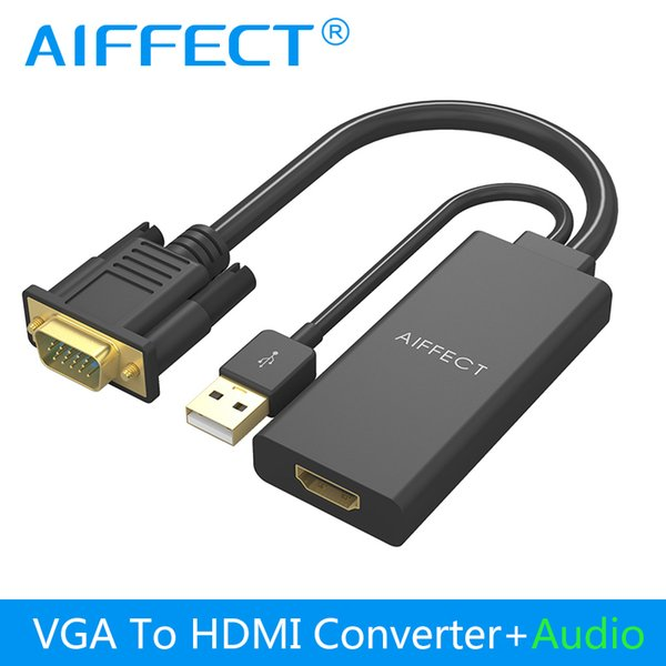 AIFFECT VGA to HDMI Converter Cable Adapter Audio 1080P 2K VGA HDMI Adapter Oxygen Free Copper for PC Laptop to HDTV
