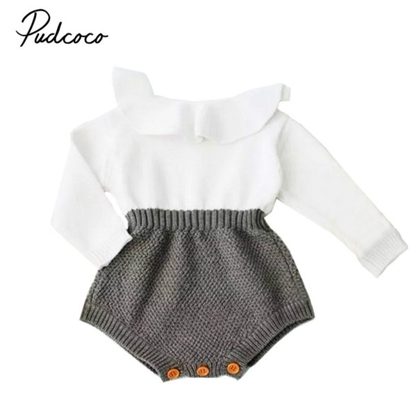 Newborn Baby Girls Kids Winter Warm Clothing Wool Knitting Ruffles Crochet Tops Romper Long Sleeve Sweater Outfit Jumper Clothes