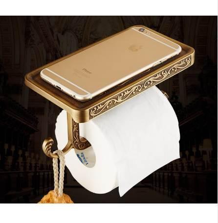 European gold antique paper roll holder creative, Bathroom toilet paper holder, WC / kitchen paper holder brass FREE SHIPPING