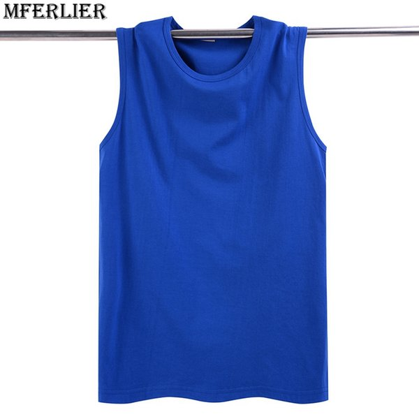 MFERLIER summer Fitness Sweatshirt loose Men tank tops cheap solid cotton plus big size 5XL t-shirt sleeveless undershirt blue
