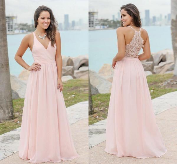 Dulce rosa verano bohemio damas de honor vestidos 2019 Sexy cuello en V espalda de encaje una línea de gasa larga boda invitados vestidos de fiesta barato BM0152