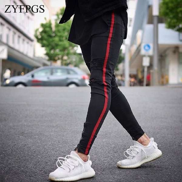 ZYFPGS Men's Solid Slim Fit Jeans Washed Feet Shinny Denim Pants Elastic Waist Joggers Knee Zipper Small Foot Hole Clothing 720