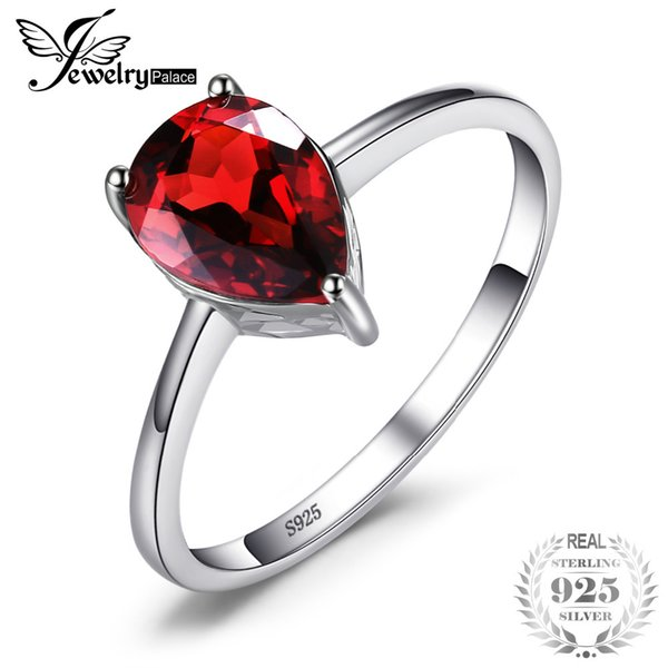 JewelryPalace Water Drop 1.6ct Natural Red Garnet Solid 925 Sterling Silver Rings For Women Fashion Party Fine Jewelry Y1892705