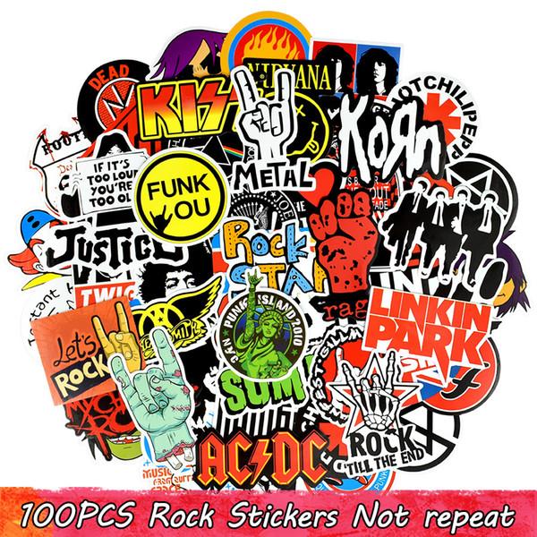 100 PCS Étanche Graffiti Autocollants Rock Band Stickers pour La Décoration Intérieure DIY Tasse Pour Ordinateur Portable Planche À Roulettes Bagage Guitare PS4 Vélo Moto Voiture Cadeaux