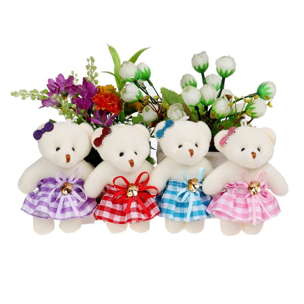 Mobile charm accessory teddy bear girls toys doll bouquets flower bear mini plush&stuff promotional gift bear for christmas gift