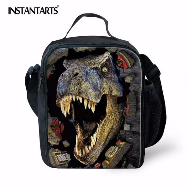 INSTANTARTS Portable Outdoor Camping Picnic Bag for Kids Man 3D Animal Dinasour Printed Cooler Insulated Tote Lunchbox Boy
