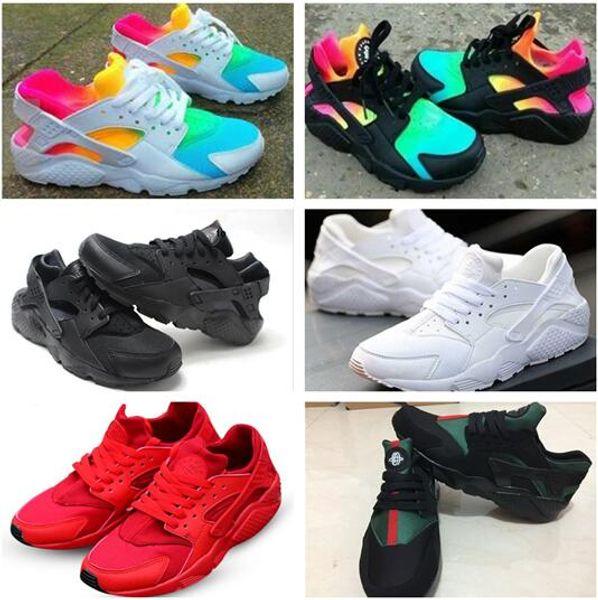 2018 Yeni Klasik Huaraches Koşu Ayakkabıları Huarache Gökkuşağı Ultra Nefes Ayakkabı Erkekler Kadınlar Çocuk Huaraches Renkli Sneakers Boyutu 36-46