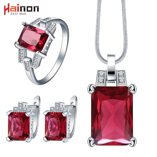 whole salecreated red cz jewelry set for wedding bridal gift fashion 2017 women crystal necklace earring ring Silver color jewelry