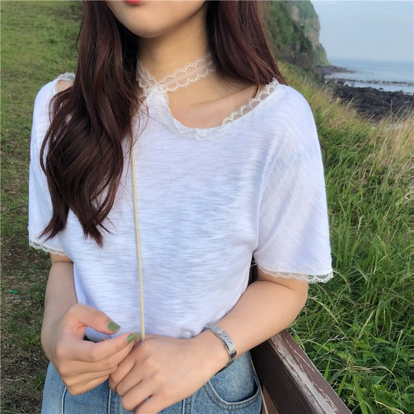 Free Shipping New Long Letter Pattern Short-Sleeved T-Shirt Cotton Loose Casual Women'S Lace T-Shirt Women's Tops & Tees