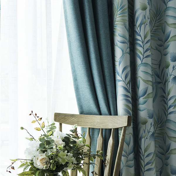 Curtain finished thickening all shade cloth simple modern cotton linen living room bedroom custom landing