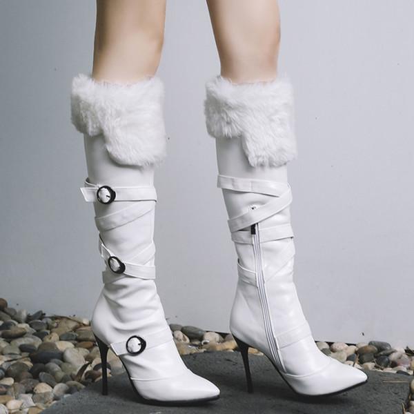 Stivali al polpaccio Scarpe donna al pellame 10cm Tacco alto in vernice Pelle Fashion Fenty Beauty Zipper Buckle Shoes Ladies Winter Boots