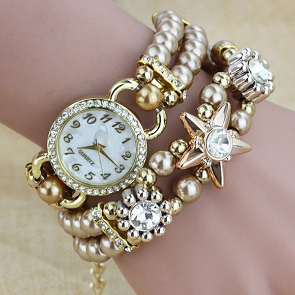 XIAGIA pearl chain bracelet gold Watch women Fashion stainless Men's Watch Waterproof Watches Clock kol saati relogio masculino