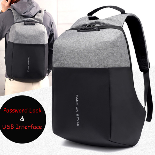 15 15.6 17 17.3 Inch with USB Interface Password Lock Nylon Notebook Laptop Backpack Bags Case School Backpack for Men Women