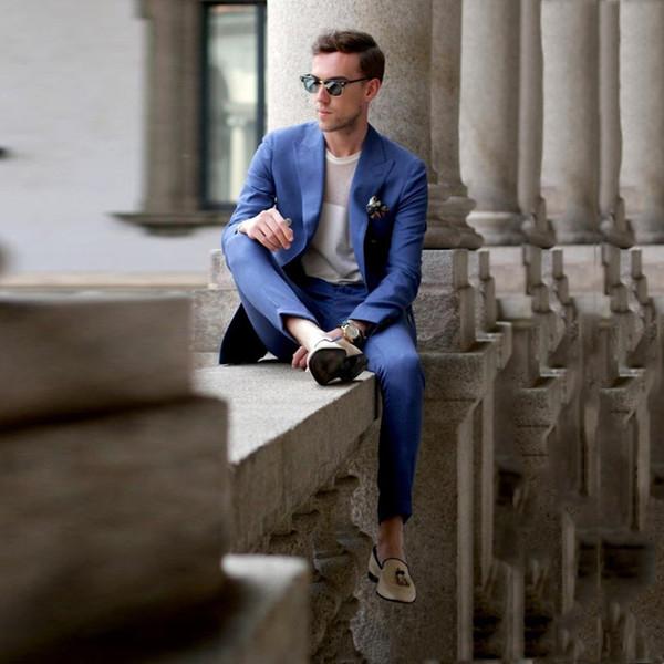 Csutom Royal Blue Мужские костюмы 2018 Пляжные свадебные джентльмены смокинги Slim Fit Groomsman Костюм жениха Пром носить 2 шт (куртка + брюки)