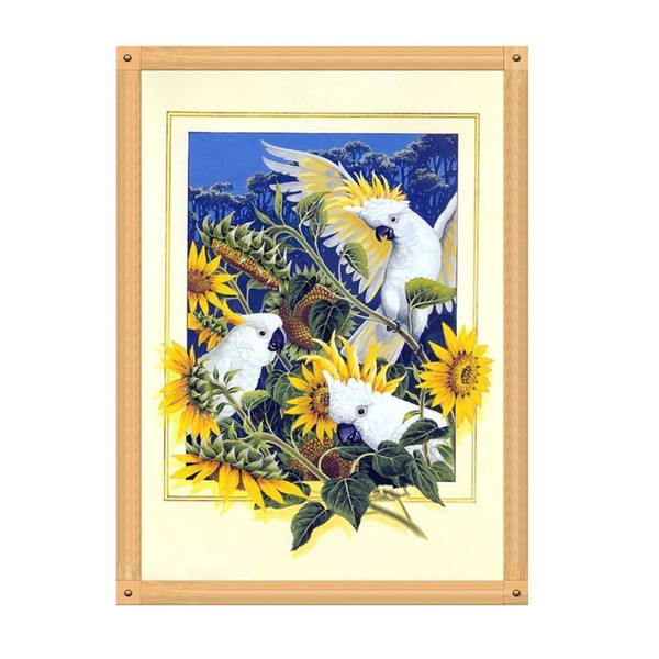 Sunflower Parrot 5D Diamond Round Rhinestone Embroidery Painting Animal Birds DIY Cross Stitch Kit Mosaic Draw Home Decor Art Craft