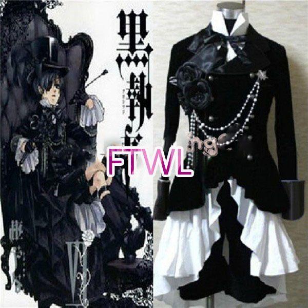 FTWL anime Black mayordomo Kuroshitsuji Ciel Phantomhive Circus Traje negro Traje Cosplay por encargo