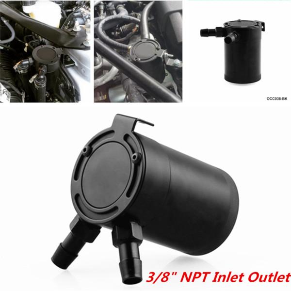 top popular Universal Racing Baffled Aluminum 2-port Oil Catch Can Tank Air-oil Separator 2021